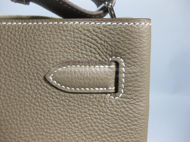 Authentic Hermes So Kelly Etoupe Clemence Leather Purse