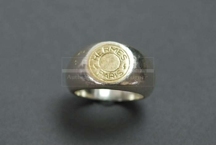 Authentic Hermes Sterling Silver 925 X K18 Gold Ring Us Size 5