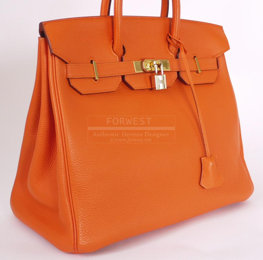 Authentic Hermes Tangerine orange Togo Hac Birkin 32 Rare Mint