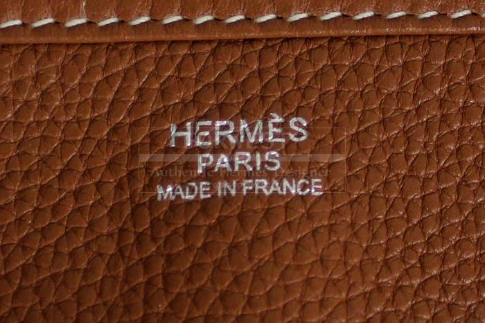 Authentic Hermes Taurillon Clemence Gold Evelyne III GM Bag