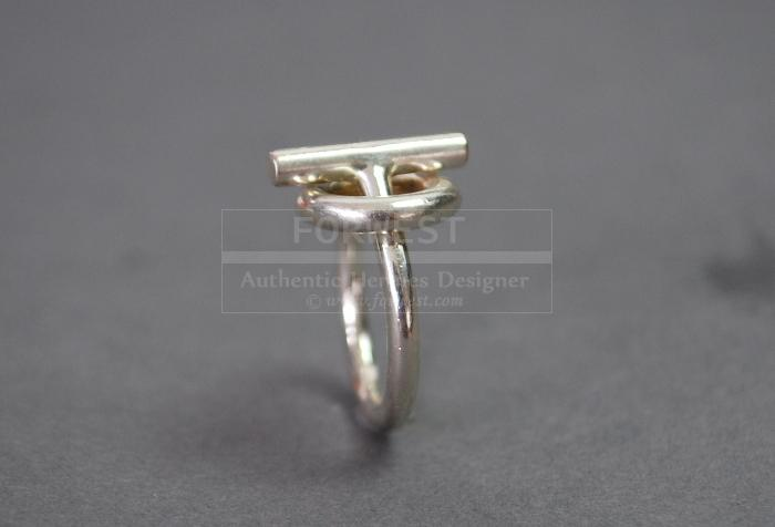 Authentic Hermes Toggle Sterling Silver 925 Ring Size 46 Us 35