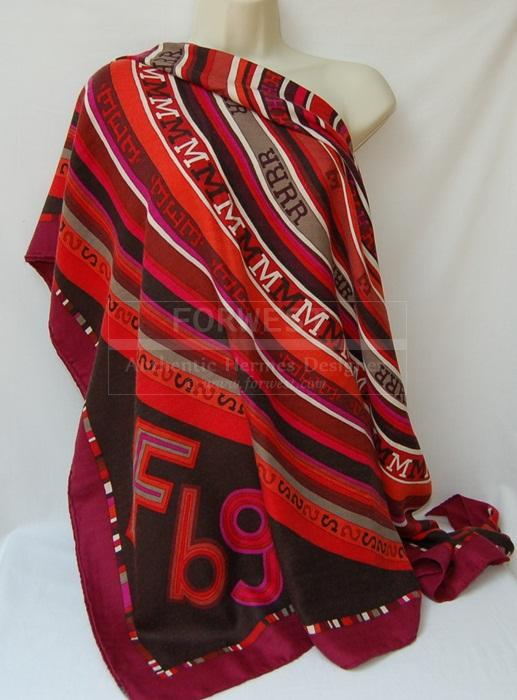 Authentic Hermes Tohu bohu G M Shawl Scarf Cassis