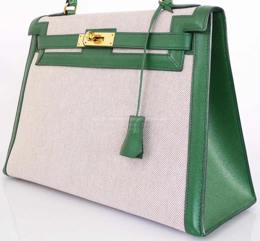 Authentic Hermes Toile H Green Couchevel Kelly Bag 32 Complete Set