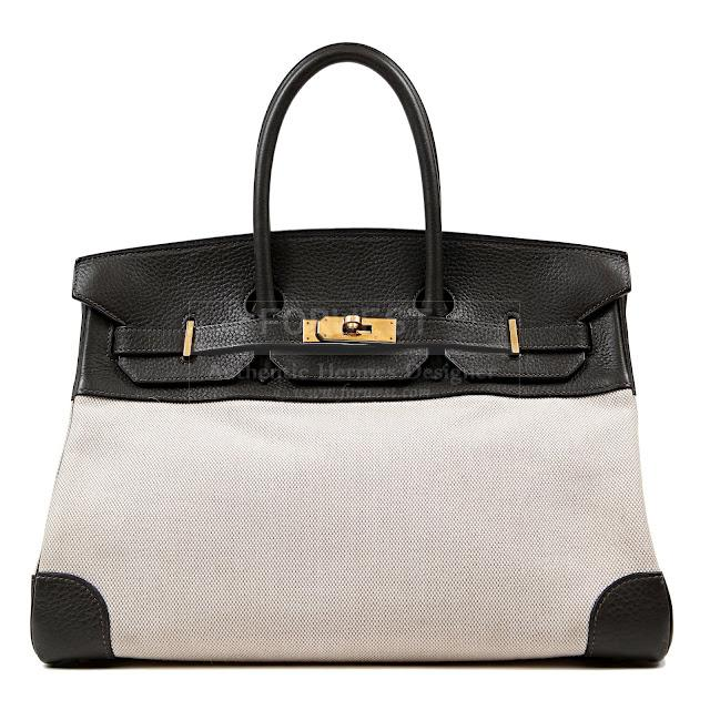 Authentic Hermes Toile and Black Clemence 35 Cm Birkin