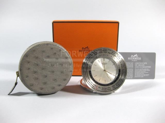 Authentic Hermes Travel Alarm Clock Gray Ostrich Pouch