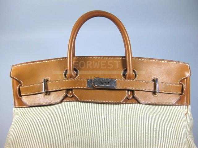 Authentic Hermes Travel Birkin 45 Fauve Barenia Leather Toile H