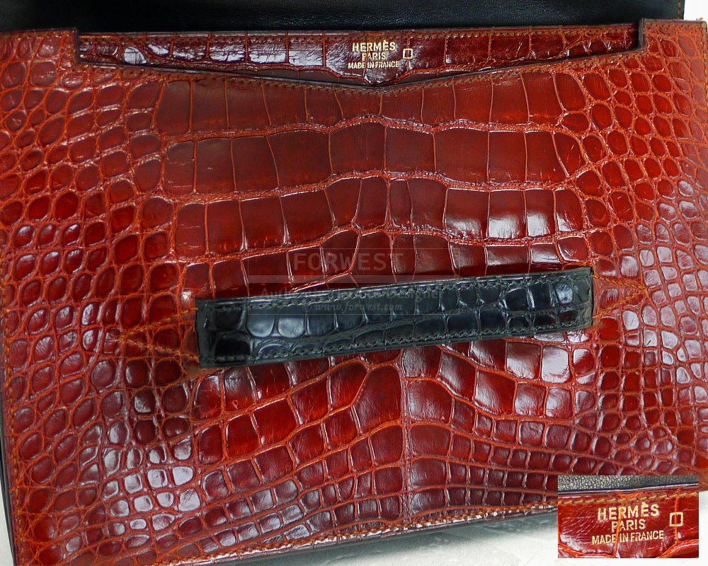 Authentic Hermes Tri color Alligator Baccara Clutch Bag Very Rare