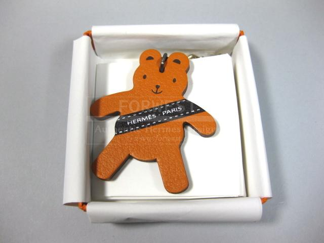 Authentic Hermes VIP Berlin 2011 Teddy Bear Key Chain Orange Tadelakt