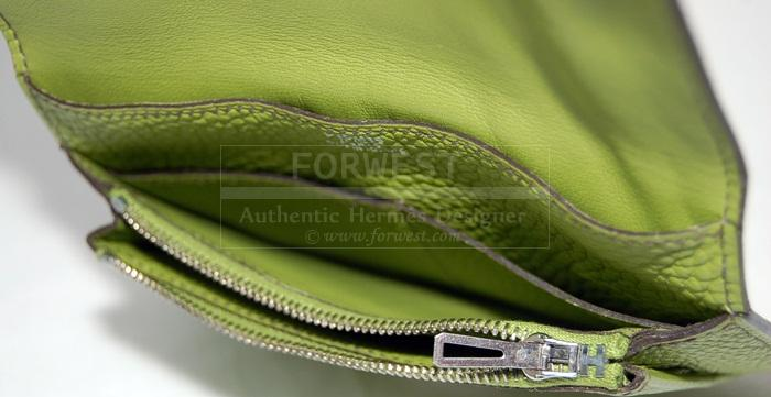 Authentic Hermes Vert Anis Compact Dogon Wallet P H W