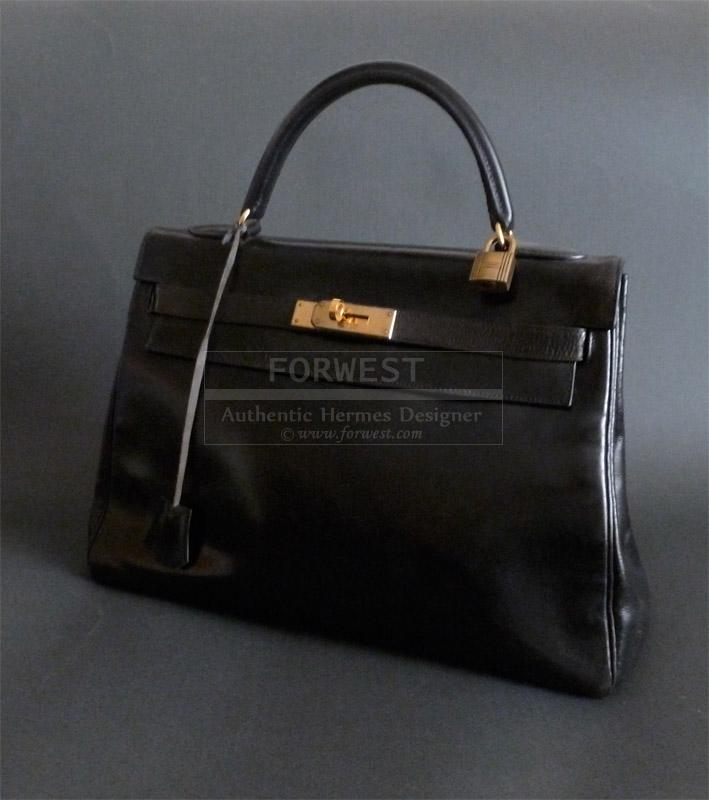 Authentic Hermes Vintage Kelly Bag 32 Cm Black Box Leather Gold