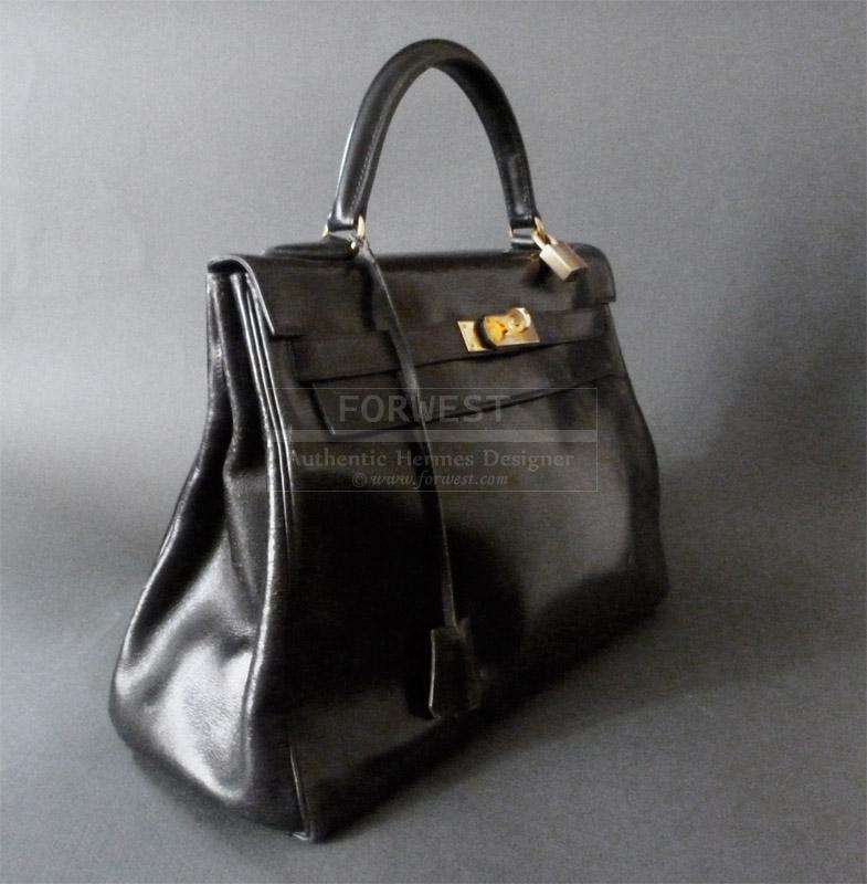 Authentic Hermes Vintage Kelly Bag 32 Cm Black Box Leather - Gold ...