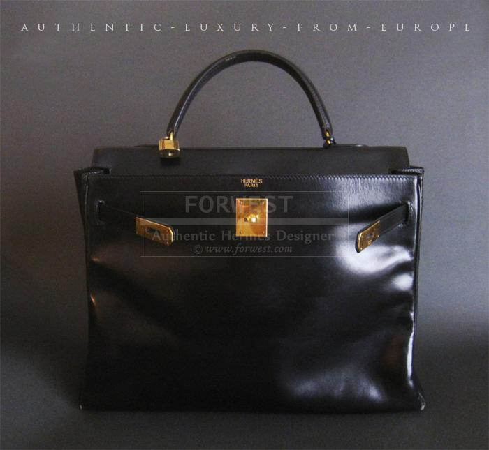 Authentic Hermes Vintage Kelly Bag 35 Cm Black Box Leather - Gold ...