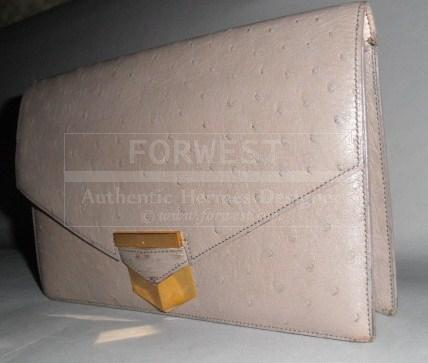 Authentic Hermes Vintage Matte Grey Ostrich Pan Clutch Very Rare