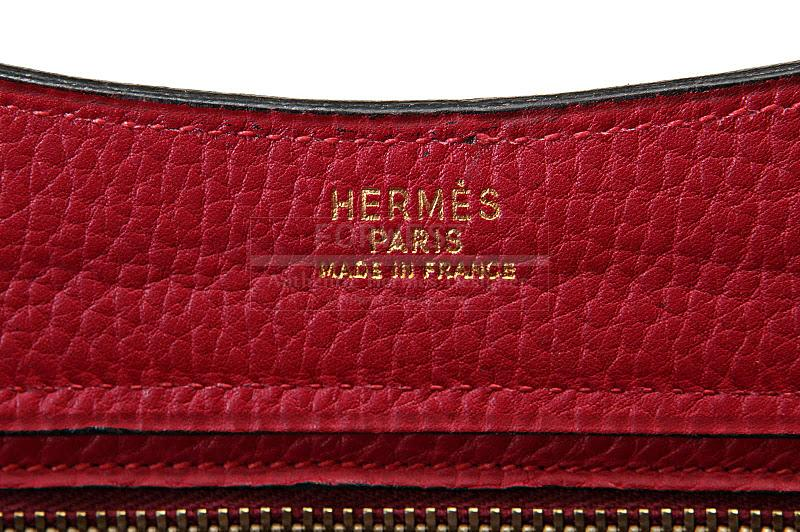 Authentic Hermes Vintage Rouge Leather Tote