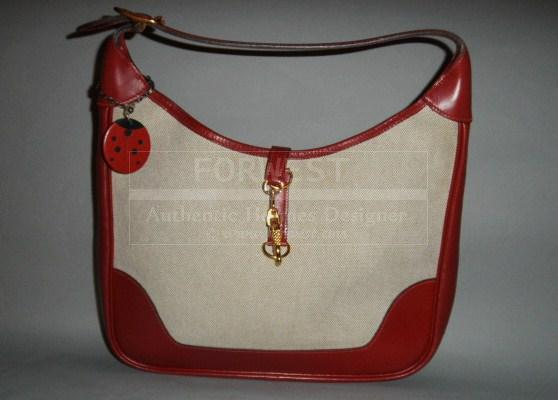 Authentic Hermes Vintage Trim Toile and Red Box Calf Shoulder Bag