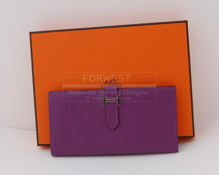 Authentic Hermes Violet Bearn Chevre Wallet P H W