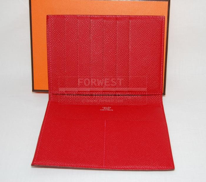Authentic Hermes Wallet Portefeuille Socrate Rouge Casaque