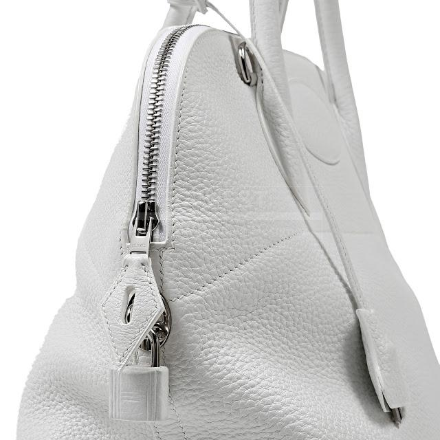 Authentic Hermes White Togo Leather 37 Cm Bolide
