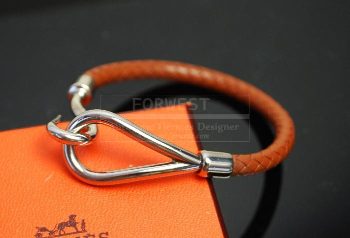 Authentic Hermes Woven Leather X Silvertone Jumbo Hook Bracelet