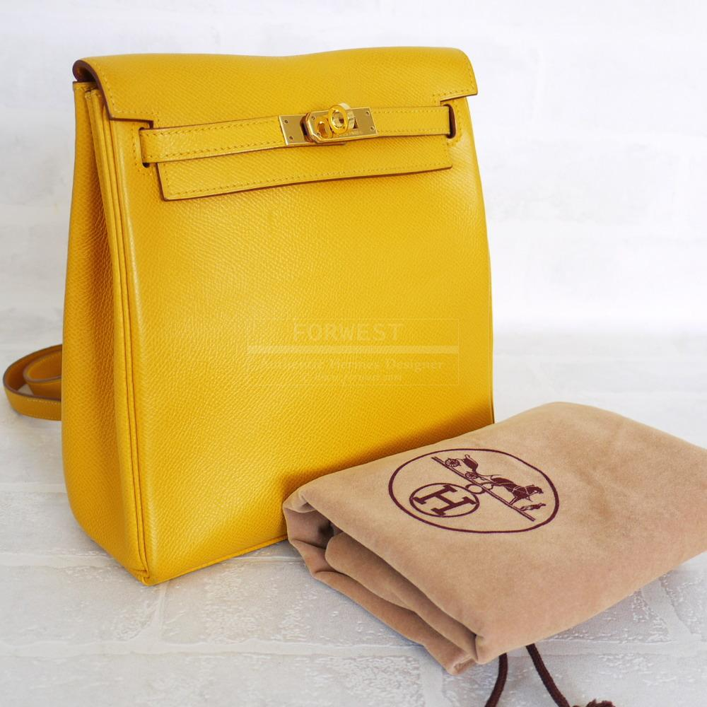 Authentic Hermes Yellow Couchevel Kelly Ado Backpack PM 6000