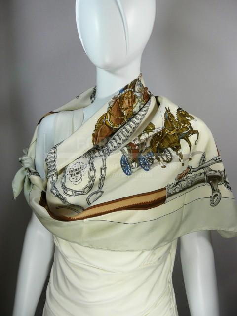 Authentic Vintage Hermes Silk Scarf Equipage Great Value