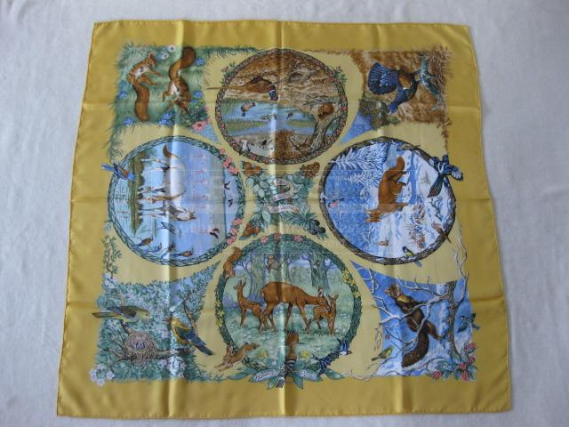 Authentic Rare Hermes Scarf Les Quatre Saisons Silk Carre