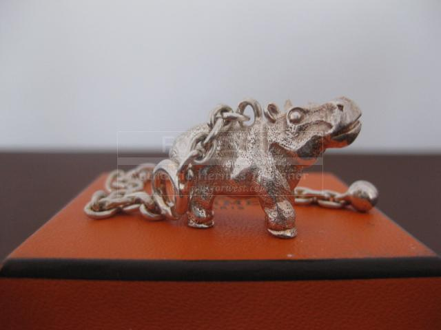 Authentic Rare Hermes Sterling Silver Key Chain Hippopotamus