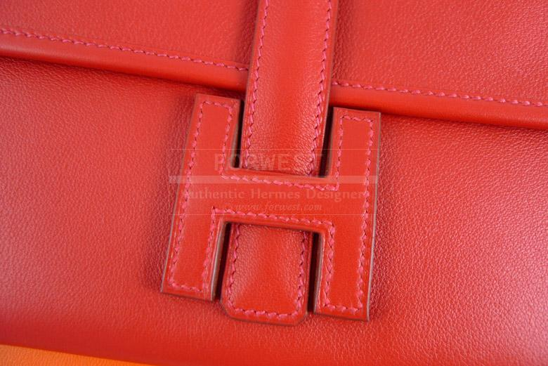 Hermes 2012 Red Vermillion Jige Duo Clutch Wallet Purse