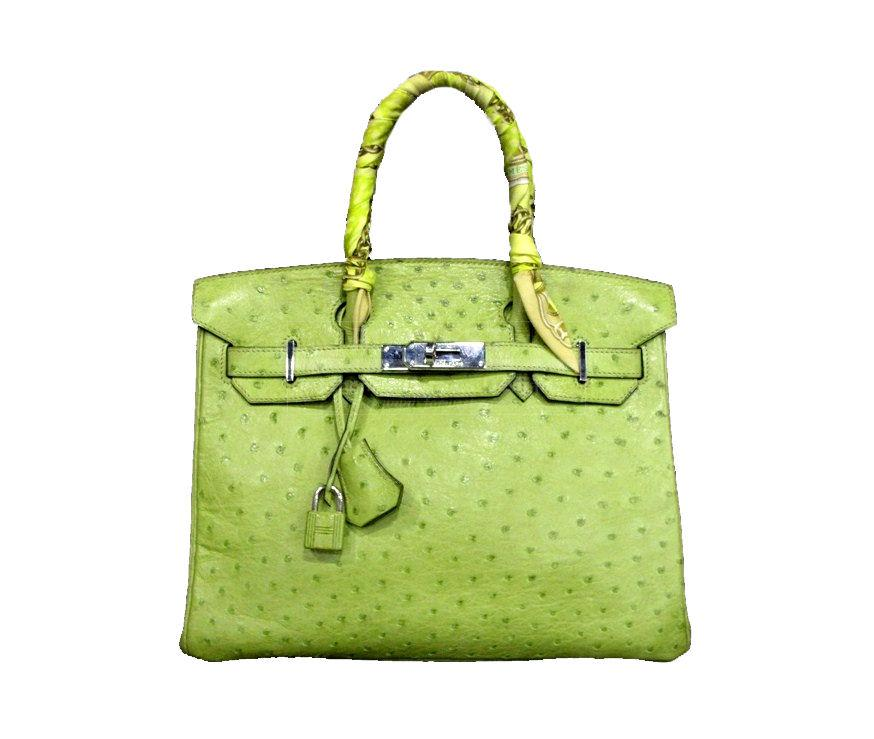 Hermes 30cm Lime Green Ostrich Leather Birkin Bag