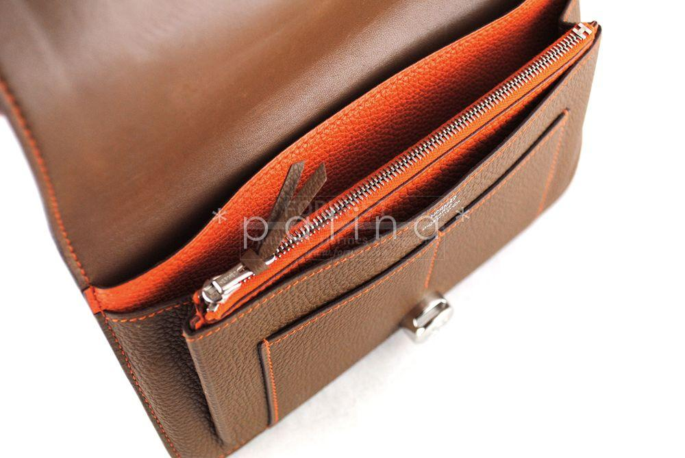 Hermes Azelan Orange Togo Dogon Long Combined Wallet