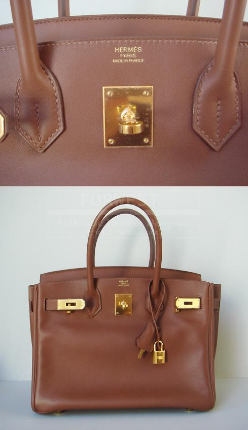 Hermes Birkin 30 Marron Dinde Swift With Gold Hardware Authentic