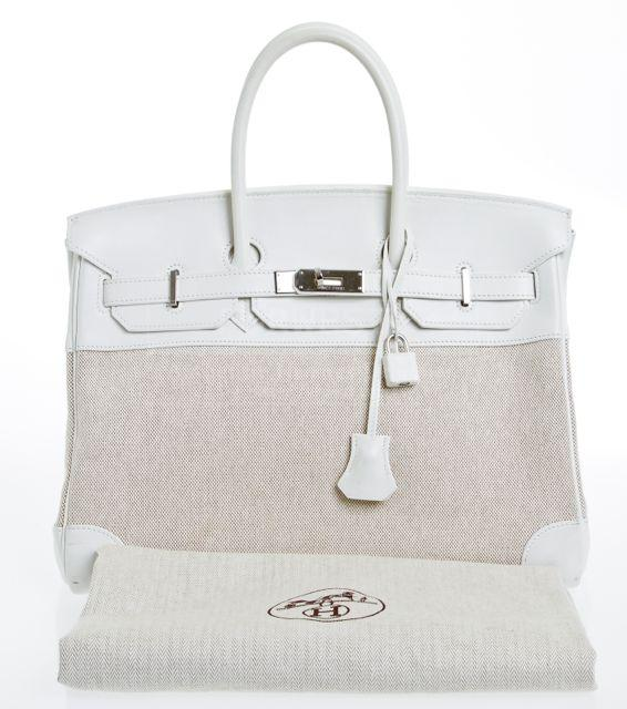 Hermes Birkin Cream and White Swift Leather and Toile 35cm
