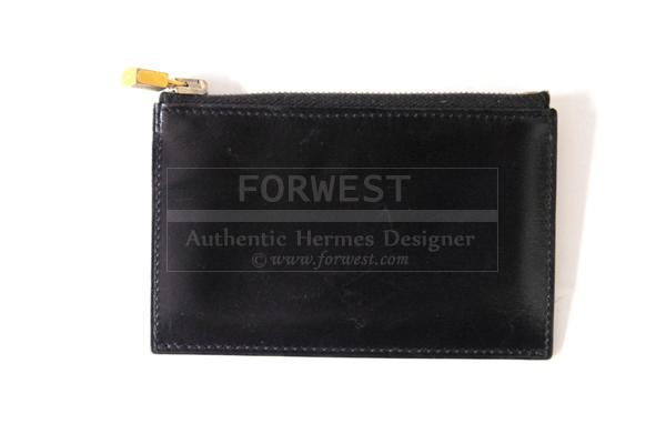 Hermes Black Box Leather Zipped Change Wallet Purse W Kelly Lock