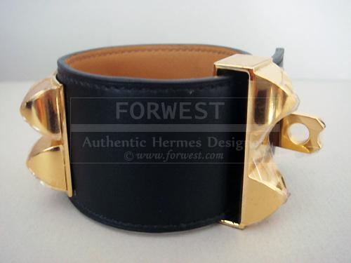 Hermes Black Cdc Bracelet Gold Hardware Collier De Chien Auth