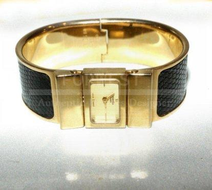 Hermes Black Lizard Bracelet Band Gold Toned Loquet Watch