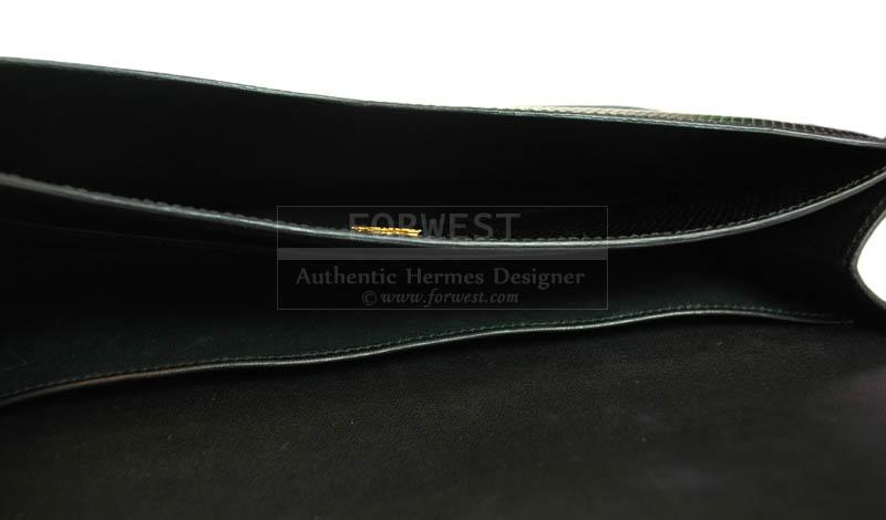 Hermes Black Lizard Vintage Clutch