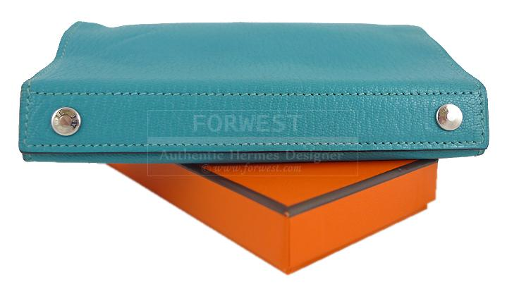 Hermes Blue Aqua Chevre Karo Cosmetic Pouch Clutch Bag