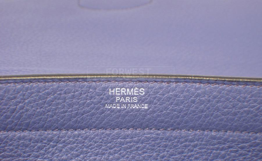 Hermes Blue Brighton Clemence Sac Illico Bag rare