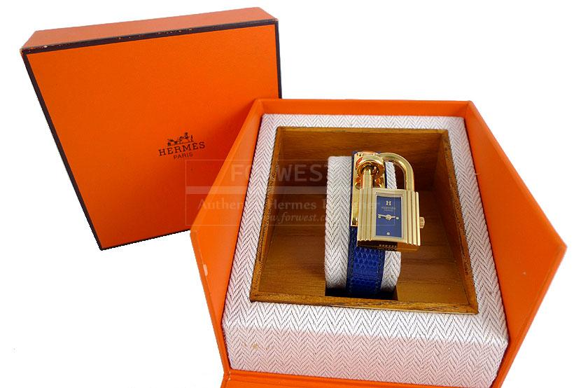 Hermes Blue Lizard Exotic Kelly Quartz Watch Gold Hardware Rare