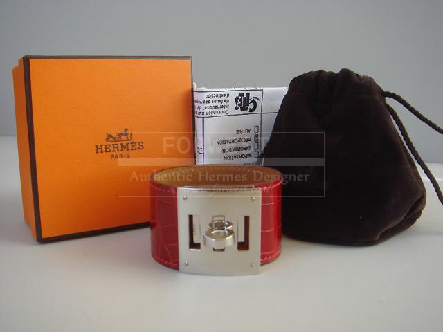 Hermes Braise Crocodile Kelly Dog Cuff Bracelet Nib Auth
