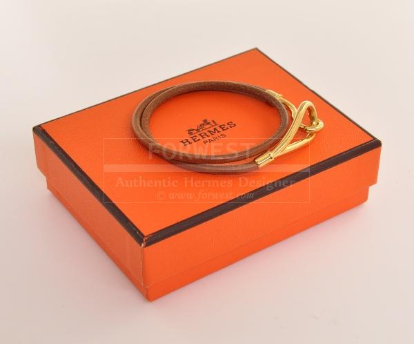 Hermes Brown Leather Bangle Bracelet Box H242
