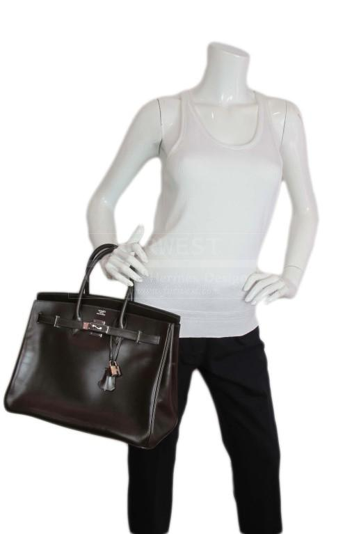 Hermes Brown Leather Birkin Bag With Palladium Hardware