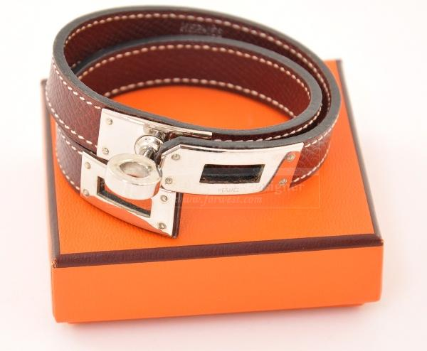 Hermes Brown Leather Double Strap Bracelet Kelly Silver Tone H319