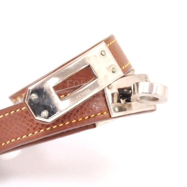 Hermes Brown Leather Double Strap Bracelet Kelly Silver Tone H377