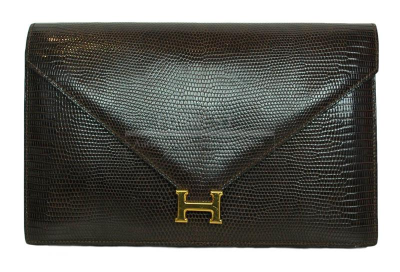 Hermes Brown Lizard H Clutch shoulder Bag With Gold Hardware