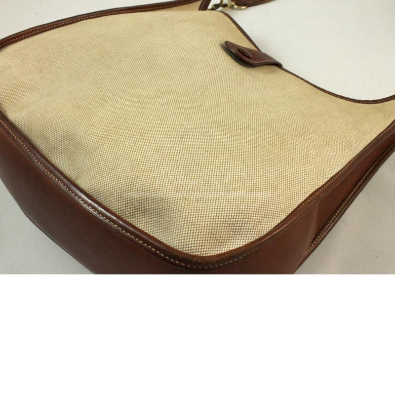 Hermes Brown toile Clemence Leather Evelyne III GM Messenger Bag