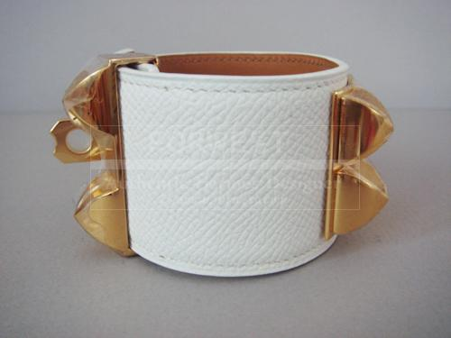 Hermes Cdc Bracelet Collier De Chien White With Gold Ghw Auth Nib