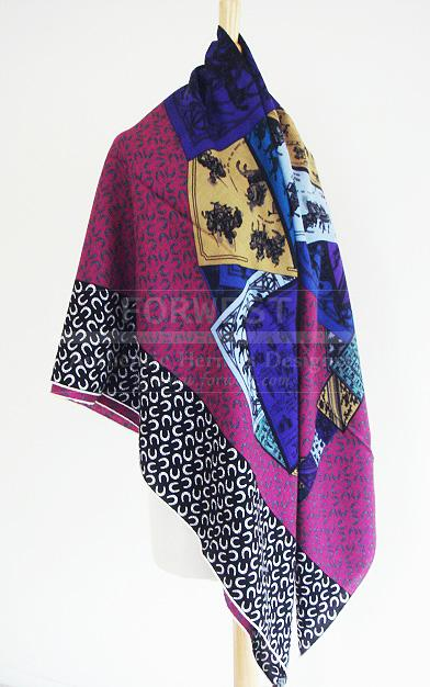 Hermes Cheval Sur Mon Csmc Shawl Ultra Violet Scarf GM New Auth