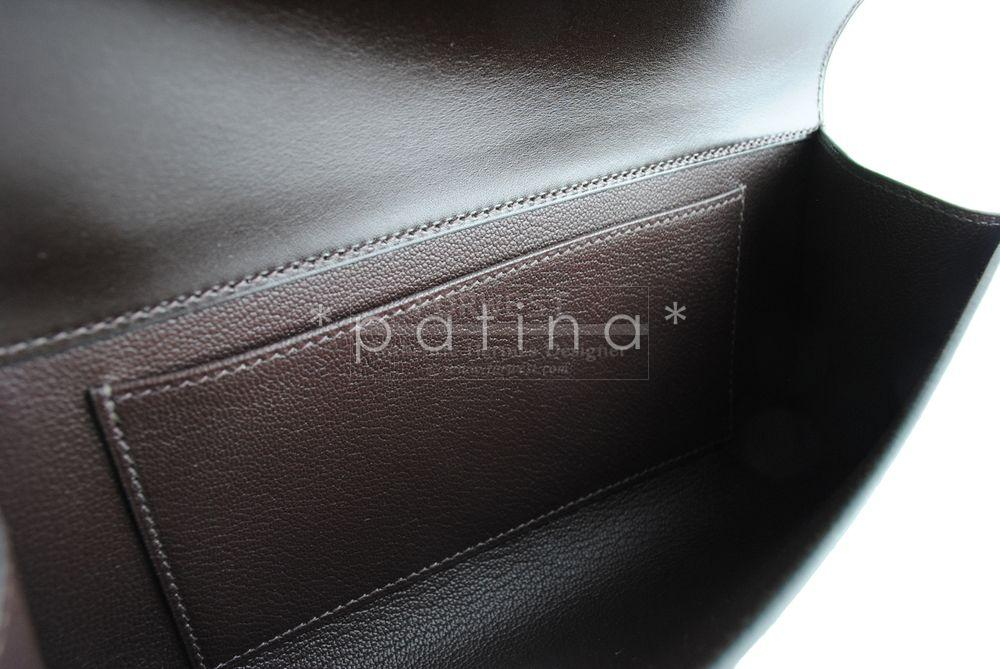 Hermes Chocolate Boxcalf Box 23cm Medor Clutch Bag