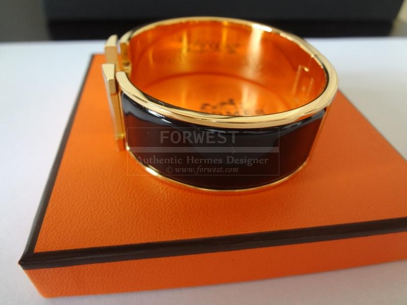 Hermes Clic Clac Bracelet Black and Gold